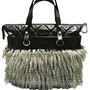 New Photos!  RARE XL Lambskin Fantasy Fur Bag NWT